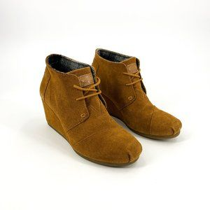 Toms Brown Suede Wedge Booties